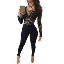 Moda Sexy Body Negro Blusa Encaje Amplio Escote Table Dance