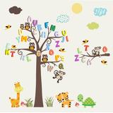 Adesivo Infantil Alfabeto Letra Macaco Girafa Arvore Zoo M99