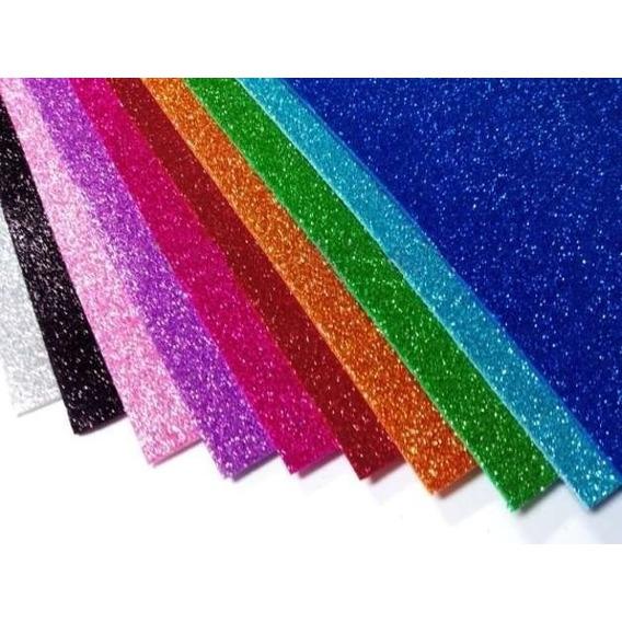 Goma Eva Brillante Con Glitter Premium 45x60cm X 10 Unidades