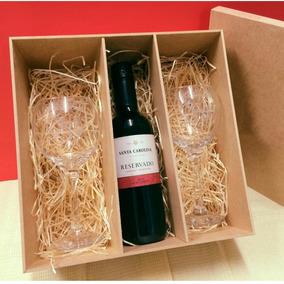 Kit 8 Caixas 23x23x8 Para Vinho E Taças Mdf Crú Casamento
