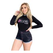 Body Canelado Letreiro Believe Barbie Estrela Planet Girls