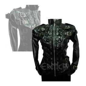 Eretica Ropa Dark-chamarra Vinipiel 14 Hebillas-gotico-metal