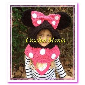 Gorros Tejidos Crochet Tipo Capucha Para Niña Mimi Minnie