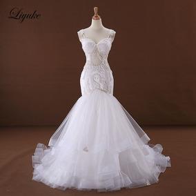 Vestido De Noivas 23332 Luxo Elegante Tulle Sereia Renda