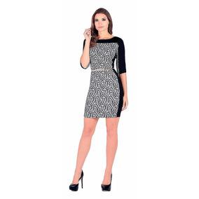 Vestido Licrado Flores Outfit 5007 Negro