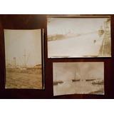 Lote 3 Fotografias Antiguas Barcos Y Puertos Argentina 1926