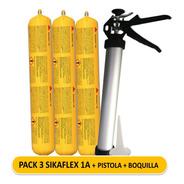 Pack 3 Sikaflex 1a Gris + Pistola Tubular + Boquilla