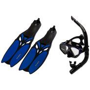 Kit Mergulho Máscara Snorkel Nadadeira Promoção Shark