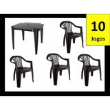 10 Conjunto De Mesa Com 04 Cadeiras Plastica Com Apoio Preto