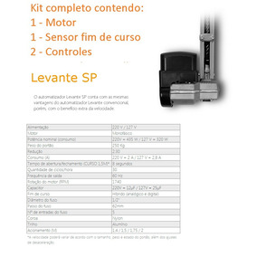 Kit Motor Portão Automático Basculante Ppa 1/4 Hp Levante Sp