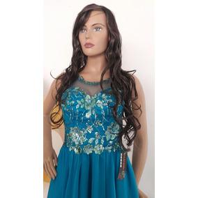 Hermoso Vestido Azul Turquesa