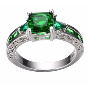 Anel F. Prata Com Zirconia Verde Natural E Strass Brilhante - Anéis ... 9d6b042e21