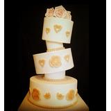 Torta Casamiento 15años Aniversario Bautismo Elegante Flores