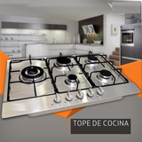 Tope De Cocina 5 Hornillas Acero Inoxidable