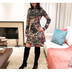 Vestido Laura Malha Médio Cinza Frio Manga Longa Da Moda