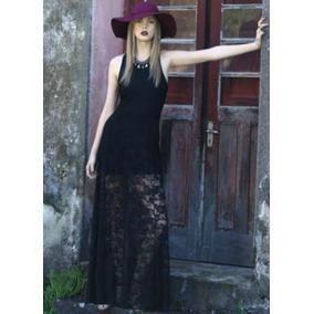 Vestido Longo Malha Com Renda=g Veste Gg=110\115 Cm Busto.