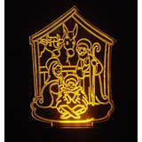 Enfeite Em Acrilico Iluminado Com Led - Presépio De Natal