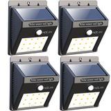 Lámpara Led Luz Solar Pared Sensor Movimiento 4 Unidades