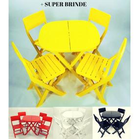 Jogo Mesa 4 Cadeiras Dobrável Plástico Melhor Q Madeira