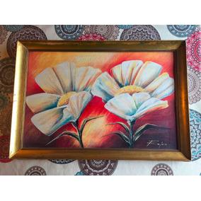 Cuadro Flores Grande Con Marco Dorado 52 X 76 Cm