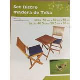 Cafe Bistro Set Madera Teka