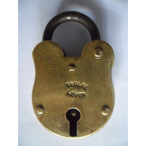 Candado Antiguo De Bronce Secure Lever Sin Llave Coleccion./