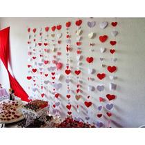 Cortina Coração Decoração Papel Dia Dos Namorados