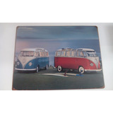 Placa Decorativa Metal Vintage Kombi E Prancha 30cmx40cm