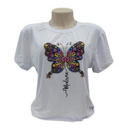 Camiseta Borboleta Colorida T-shirt Feminina Estilosa Branca