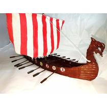 Barco Vikingo Artesanal Pintado A Mano 8 Remos 27 Cm