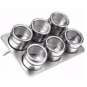 Porta Condimento 6 Potes Tempero Aço Inox Magnético