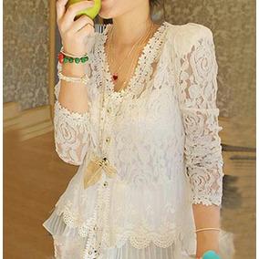 Blusa Encaje Blanco....hermosa!!!!!! Tallas M, L,
