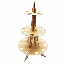 Base Mdf Torre Eiffel Y Conos Mesa Dulces Fiesta Xv Vintage