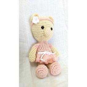 Peluche De Estambre Punto Crochet -osita Vestido Rosa