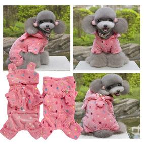 Roupa Para Cachorro Pet Macacão Pijama De Bolinha Com Capuz