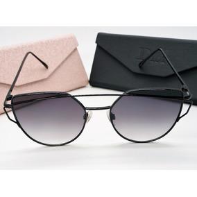 Óculos Espelhado Feminino Olho D Gatinho Metal Redondo Preto · R  89 40 c780adf581