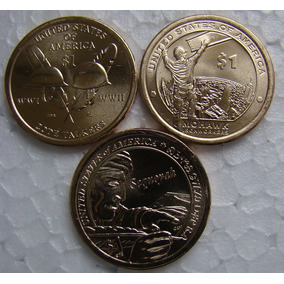 Estados Unidos 3 Moedas 1 Dólar Native American Fc Total 3d