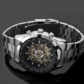 Relógio Winner Masculino Automático Máquina Aparente Em Aço