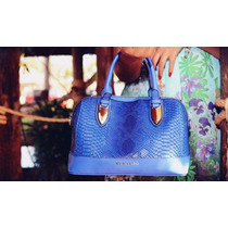 Bolsa De Mão Azul Escamada