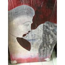 Cuadro Decorativo- Oleo Sobre Tela, Arte, Pareja, Rojo, Beso