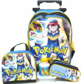 Kit Mochila Pokémon Go Rodinhas Tam G + Lancheira + Estojo