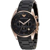 Relógio Emporio Armani Ar5905 Preto Rose Lindo Completo