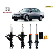 4 Amortecedores + Kits Batentes Do Honda Civic Ano 01/02