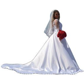 Vestido De Noiva Casamento Com Manga Renda Luxo + Brinde