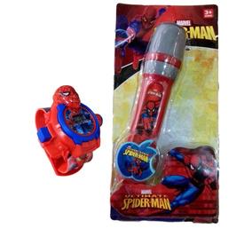 Microfone Musical Infantil Homem Aranha Vingadores + Relógio