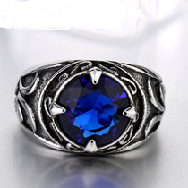 Anel Aço Inox E Pedra Zircônia Azul Proteção Amizade Justiça