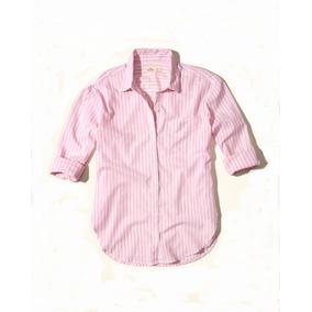 Hollister Camisa Dama Rosa Con Blanco Talla L
