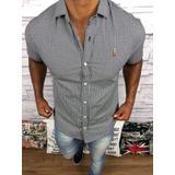 Camisa Social Mang Curta Masculina Slim Premium Raph Lauren