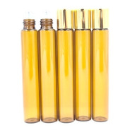 5 Rollon Vidro Ambar Rolon 10ml Tampa Dourada Oleo Essencial