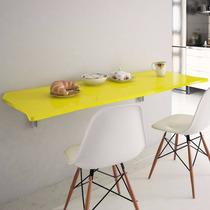 Mesa Suspensa De Parede Dobrável Flat Amarelo 90x50 Lymdecor